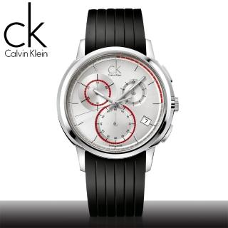 【瑞士 CK手錶 Calvin Klein】大錶徑三眼計時男錶(K1V27926 白款)
