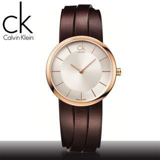 【瑞士 CK手錶 Calvin Klein】造型皮帶女錶 玫瑰金(K2R2M6G6-K2R2S6G6)