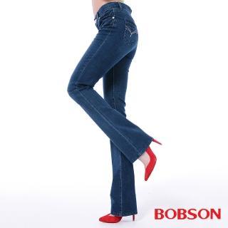 【BOBSON】女款高腰膠原蛋白小喇叭褲(藍8083-53)