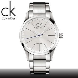 【瑞士 CK手錶 Calvin Klein】白色鋼帶CK經典LOGO男錶(K2241120)