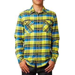 【摩達客】美國進口知名時尚休閒品牌Fox  黃藍方格紋長袖襯衫