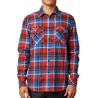 【摩達客】美國進口知名時尚休閒品牌Fox  紅藍方格紋長袖襯衫