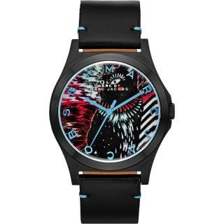 【Marc Jacobs】Holiday Henry 塗鴉貓頭鷹腕錶-黑/40mm(MBM8620)