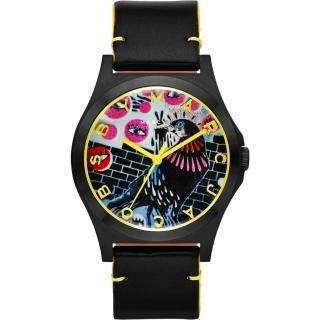 【Marc Jacobs】Holiday Henry 塗鴉藝術時尚腕錶-黑/40mm(MBM8621)