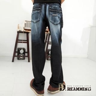 【Dreamming】造型口袋刷白伸縮中直筒牛仔褲