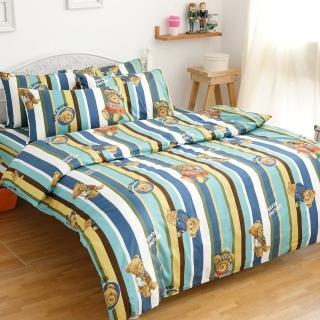 【eyah】100%純棉雙人加大床包枕套三件組(英倫熊)