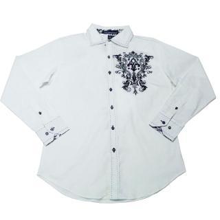 【摩達客】美國進口潮時尚設計 Victorious  花紋刺繡白色長袖襯衫