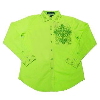 【摩達客】美國進口潮時尚設計 Victorious  徽章刺繡萊姆黃綠長袖襯衫