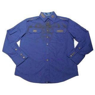 【摩達客】美國進口Born Sinners- Sir Lucan 藍時尚長袖設計襯衫