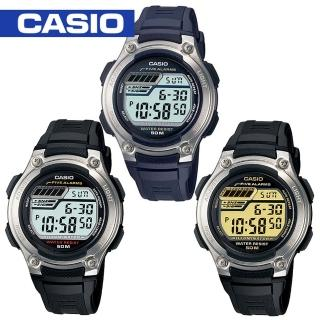 【CASIO 卡西歐】顆粒輪胎紋路膠質錶帶電子錶(W-212H)