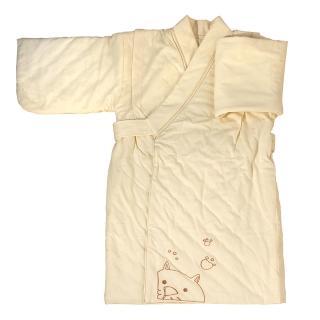 【azure canvas藍天畫布】100%有機棉嬰幼兒鋪棉和服/外套(原米色)