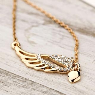 【Bling Q】單翅飛揚水鑽造型項鍊