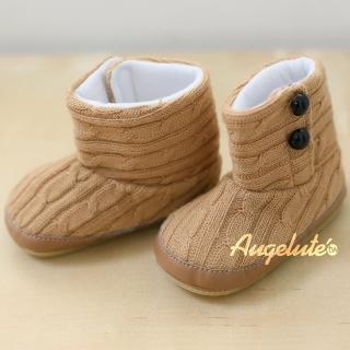 【BABY童衣】嬰兒防滑學步鞋 男女寶寶短靴軟底鞋保暖鞋34101-03(淡棕色)