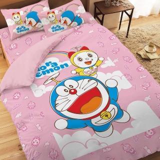 【享夢城堡】哆啦A夢-天空漫遊系列(雙人四件式床包兩用被組)