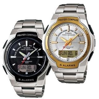 【CASIO 卡西歐】溫度、朝拜、數字羅盤指南針多功能錶(CPW-500HD)