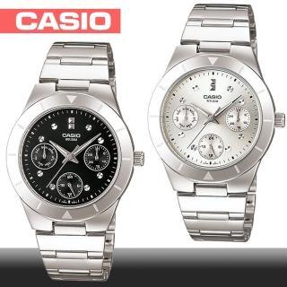 【CASIO 卡西歐】三眼指針型氣質女錶(LTP-2083D 白面/黑面)