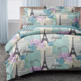 【GALATEA藍巴黎風情】山寧泰防蹣抗菌系列雙人加大四件式被套床包組