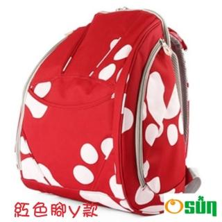 【Osun】防潑水無毒超容量媽咪包、媽媽包(紅色腳丫款雙肩前/後背包)