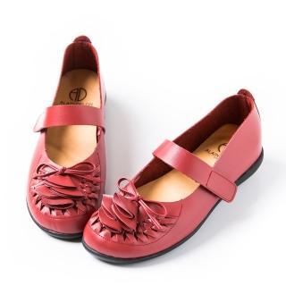 【ALAIN DELON】蝴蝶結層次真皮休閒鞋W7419(2色 駝色 紅色)
