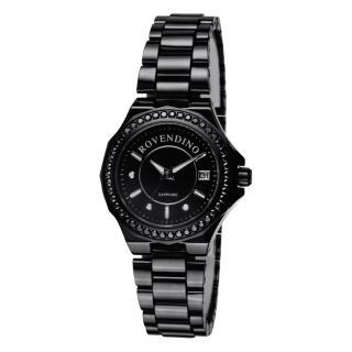 【羅梵迪諾 Roven Dino】閃耀美學‧頂級藍寶石玻璃陶瓷腕錶-黑(RD6046)