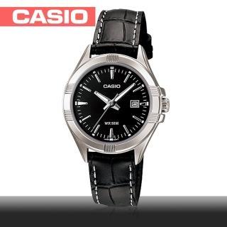 【CASIO 卡西歐】氣質黑皮革簡約女錶-皮革錶帶(LTP-1308L)