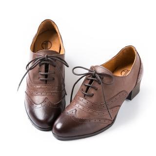 【ALAIN DELON】復古時尚-雕花綁帶復古粗跟牛津鞋W9409(3色 黑色 咖啡色 棕色)
