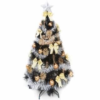 【聖誕裝飾品特賣】台灣製4尺(120cm特級黑色松針葉聖誕樹-金銀系配件(不含燈)