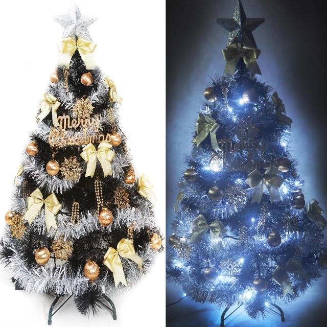 【聖誕裝飾品特賣】台灣製4尺(120cm特級黑色松針葉聖誕樹-金銀系配件+100燈LED燈白光1串 附跳機控制器)