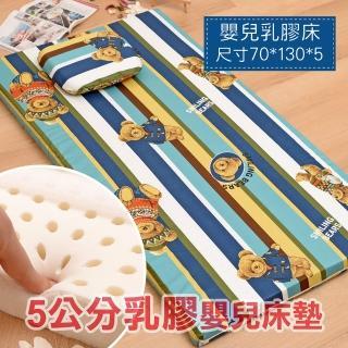【Embrace英柏絲】5cm天然乳膠嬰兒床 床墊-M號-70x130cm(熊熊條紋)