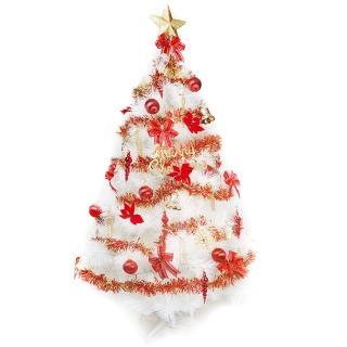 【聖誕裝飾品特賣】台灣製5尺(150cm特級白色松針葉聖誕樹-紅金色系配件(不含燈)
