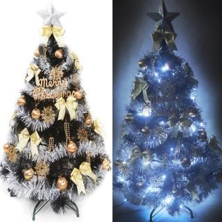 【聖誕裝飾品特賣】台灣製6尺(180cm特級黑色松針葉聖誕樹-金銀系配件+100燈LED燈白光2串 附控制器跳機)