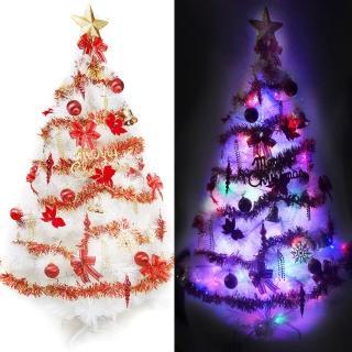 【聖誕裝飾品特賣】台灣製6尺(180cm特級白色松針葉聖誕樹-紅金色系+100燈LED燈2串-附控制器跳機)