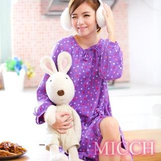 【MICCH】厚棉暖心 繽紛雪花點點睡衣裙