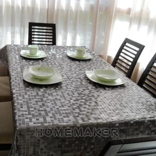 【Homemaker】小方格金屬壓紋桌巾-長210cmX寬137cm(RN-PW151-48-C5)