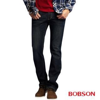 【BOBSON】男款熱感IN低腰直筒牛仔褲(藍52)