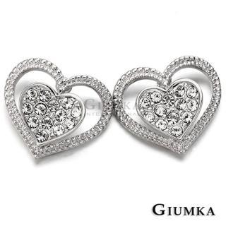 【GIUMKA】心戀心淑女款耳針式耳環 精鍍正白K 白鋯  MF00275-1(銀色)