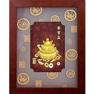 【開運陶源】999純金金箔畫(聚寶盆-馬到成功﹍2款可選)