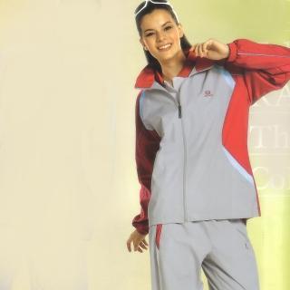 【日本Kawasaki】女版平織網裡運動服套裝(全套-淺灰)