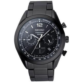 【SEIKO】戰場之絆三環計時腕錶-黑(SSB093P1)