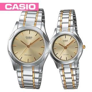 【CASIO 卡西歐】送禮首選-半金丁字面情侶對錶(MTP-1275SG+LTP-1275SG)
