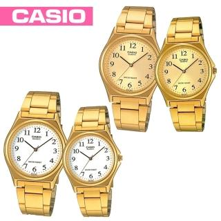【CASIO 卡西歐】情侶款-燦金數字型指針對錶(MTP-1130N+LTP-1130N)