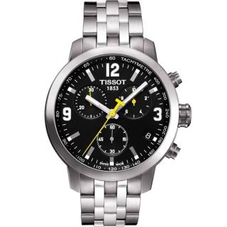 【TISSOT】PRC 200 競速三眼計時腕錶-黑/銀/42mm(T0554171105700)