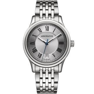 【AEROWATCH】經典羅馬旗鑑腕錶-銀/40mm(A24962AA01M)