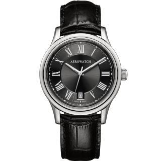 【AEROWATCH】羅馬簡約時尚腕錶-黑/40mm(A24962AA02)