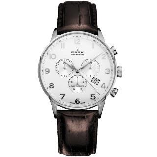 【EDOX】Les Vauberts 競速玩家計時腕錶-白/41mm(E10408.3A.ABN)