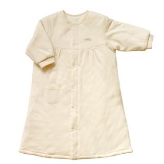 【azure canvas藍天畫布】100%有機棉嬰兒鋪棉長袍-暖冬必備70cm(原米色)