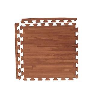 【新生活家】無甲醯胺耐磨拼花木紋地墊(深色45x45x1.2cm12入附邊條)
