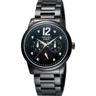 【VOGUE】都會時尚藍寶石日曆腕錶-IP黑/38mm(7V3834DD)