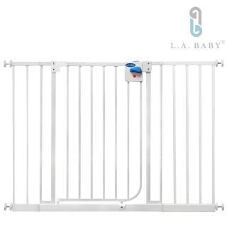 【美國 L.A. Baby】加高加寬-安全自動上鎖幼兒鐵門欄 / 寵物柵欄(贈兩片延伸件)