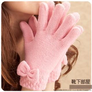 【靴下部屋】雙層加倍保暖!蝴蝶結毛線手套(甜心粉)